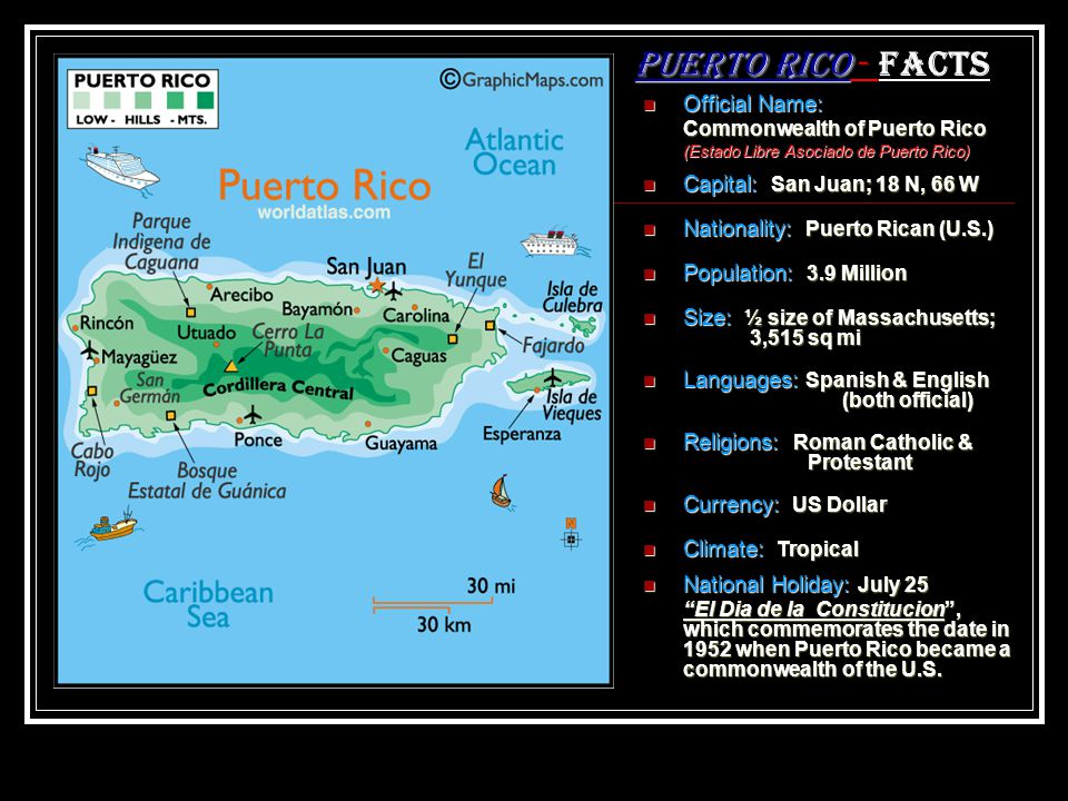 Puerto Rico - Facts Official Name: Capital: San Juan; 18 N, 66 W