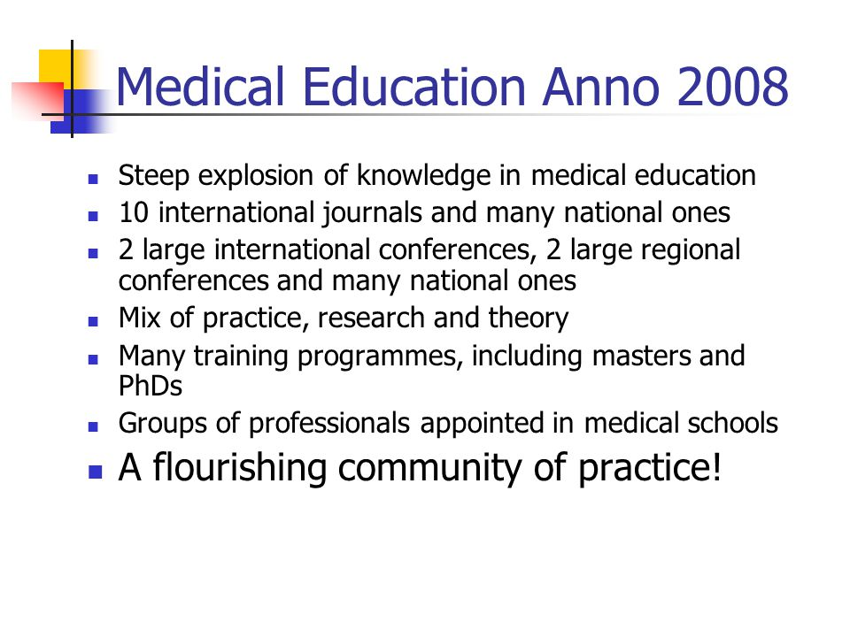 Medical Education Anno 2008