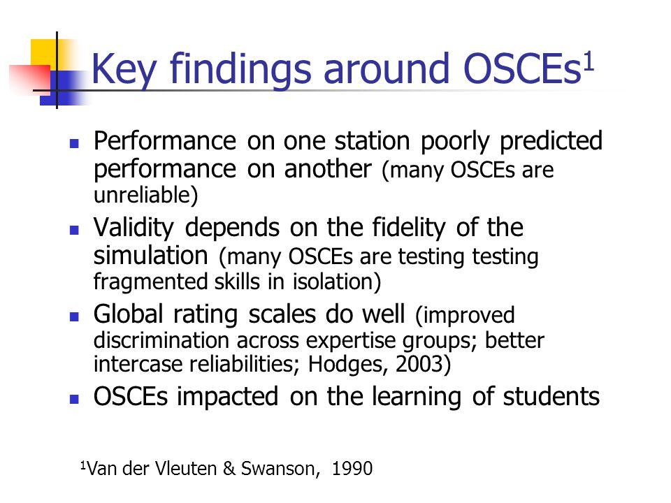 Key findings around OSCEs1
