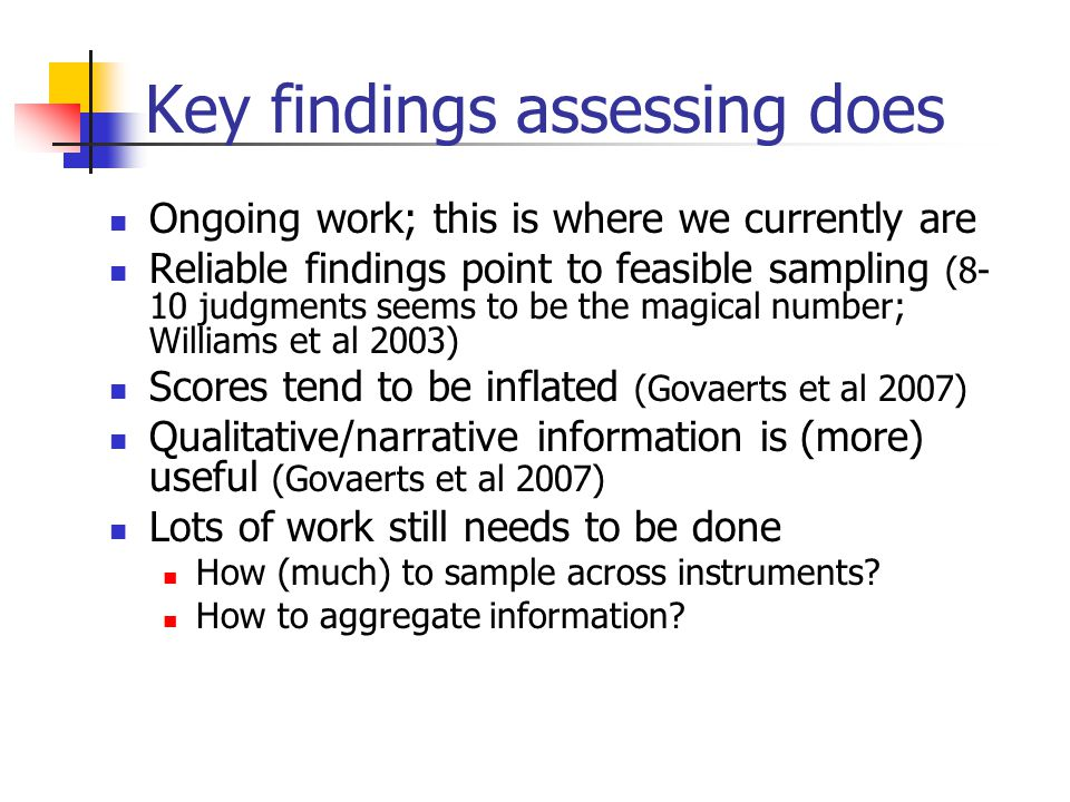 Key findings assessing does