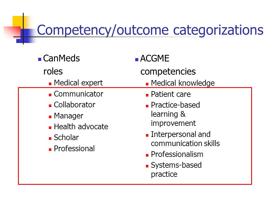 Competency/outcome categorizations