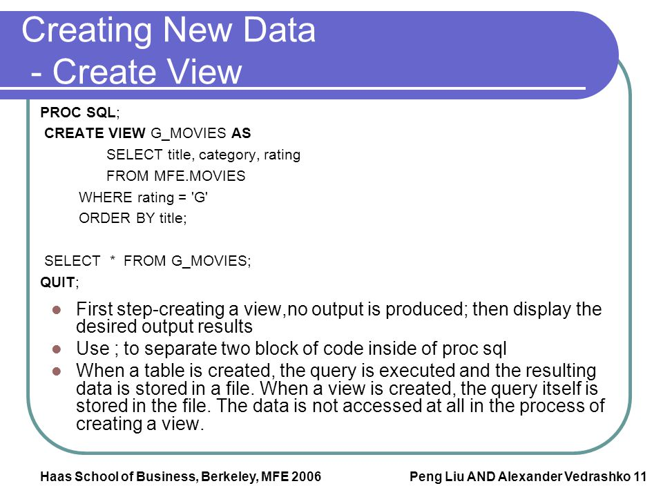 Creating New Data - Create View
