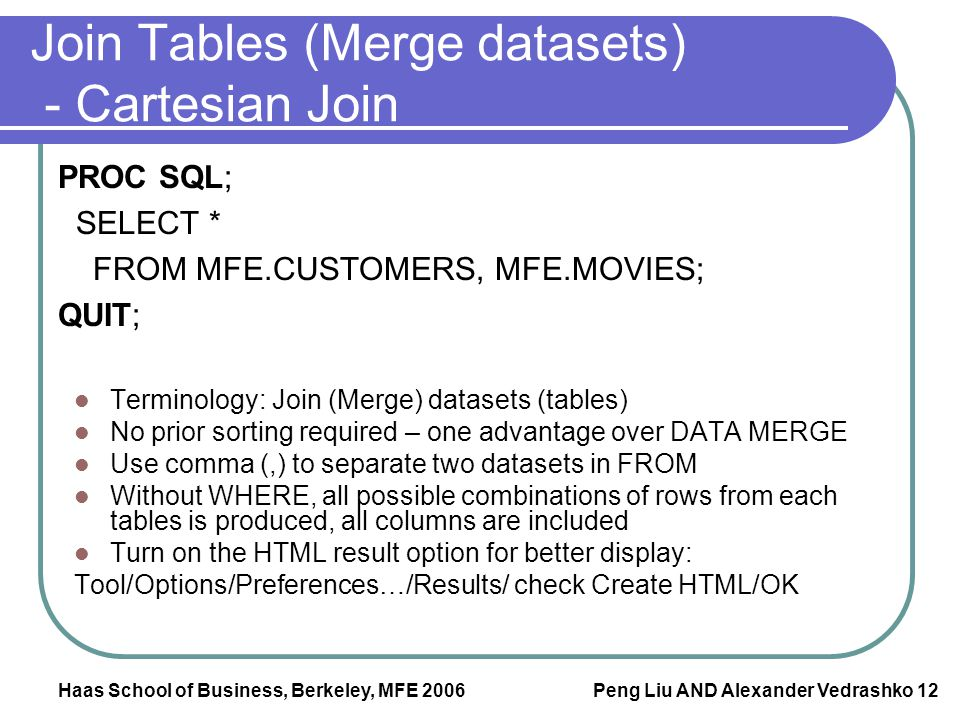 Join Tables (Merge datasets) - Cartesian Join