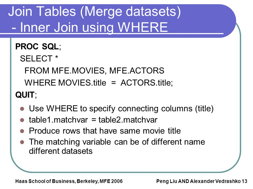 Join Tables (Merge datasets) - Inner Join using WHERE