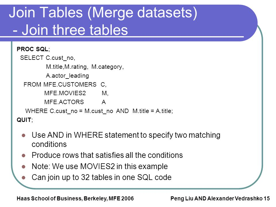 Join Tables (Merge datasets) - Join three tables