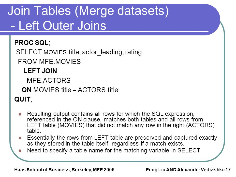 Join Tables (Merge datasets) - Left Outer Joins