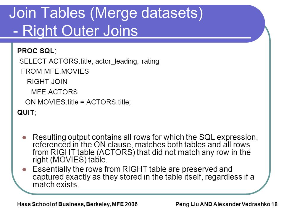 Join Tables (Merge datasets) - Right Outer Joins
