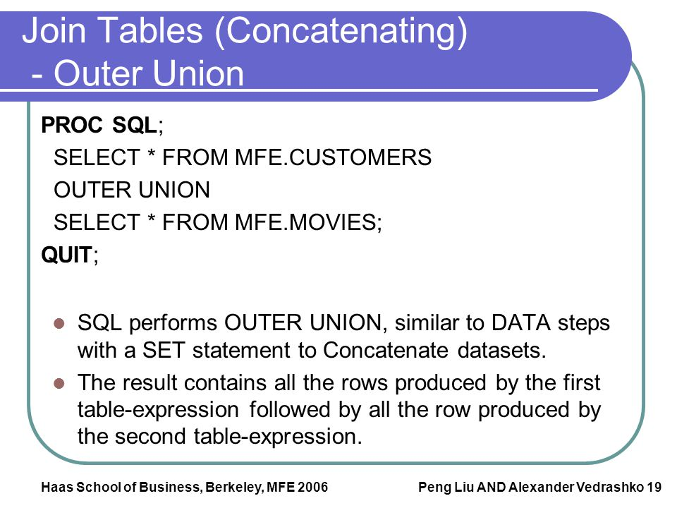 Join Tables (Concatenating) - Outer Union