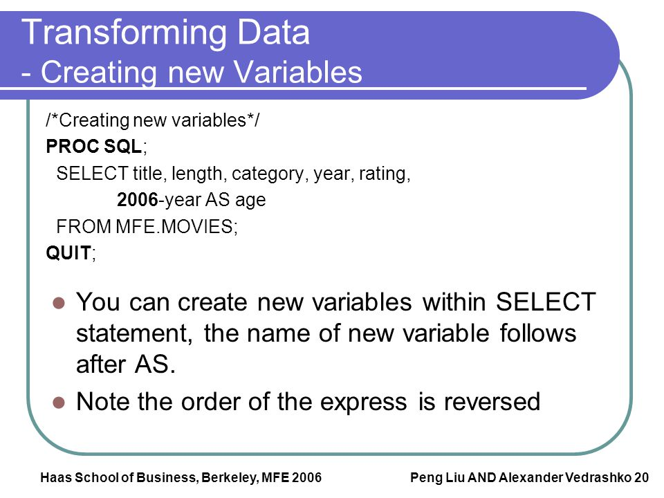 Transforming Data - Creating new Variables