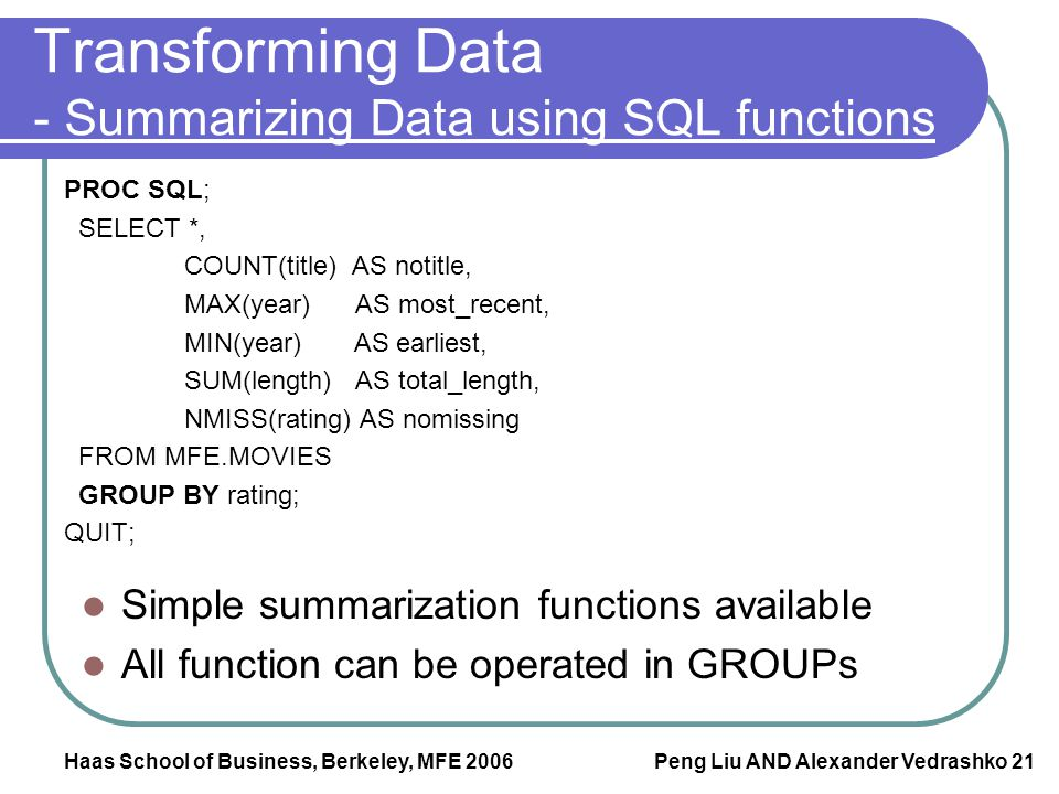 Transforming Data - Summarizing Data using SQL functions