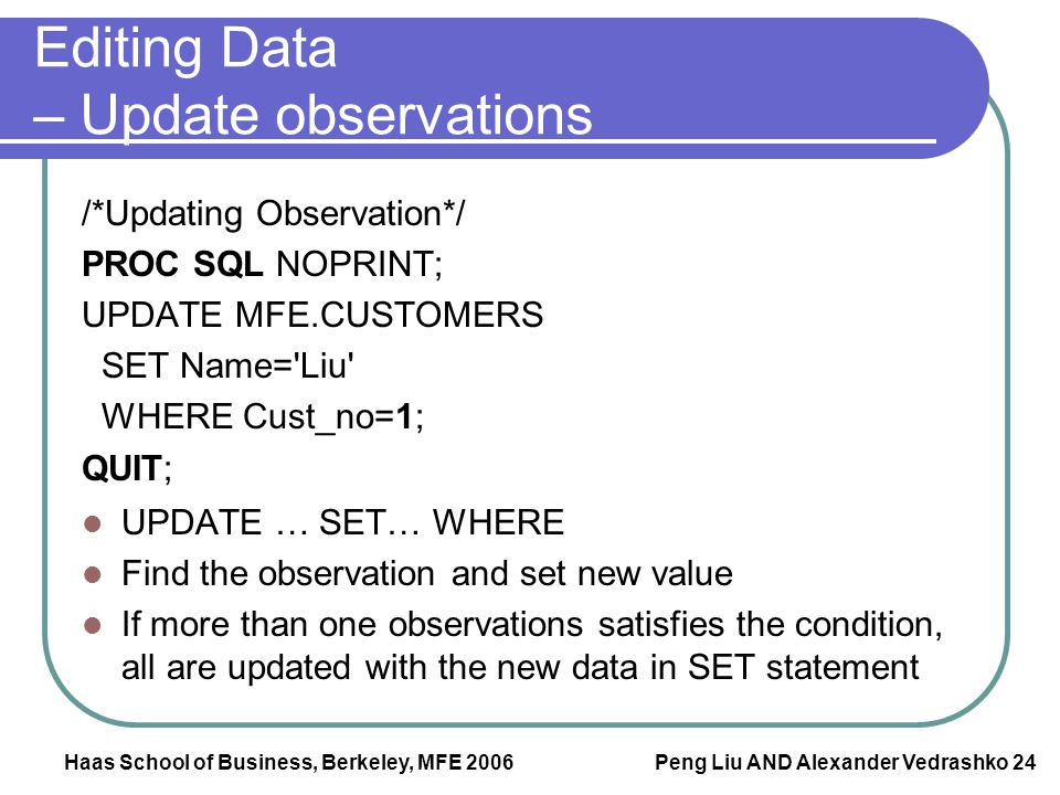 Editing Data – Update observations