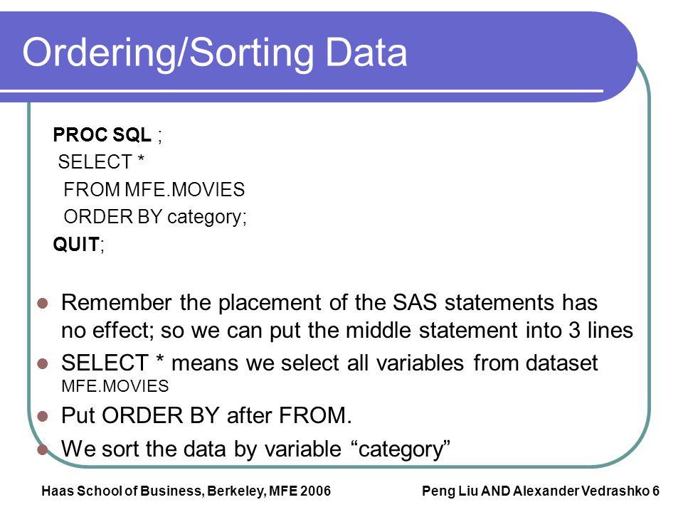 Ordering/Sorting Data