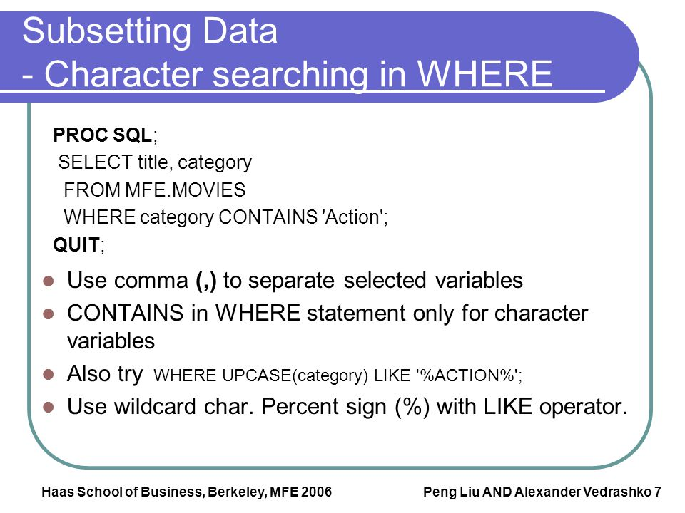 Subsetting Data - Character searching in WHERE