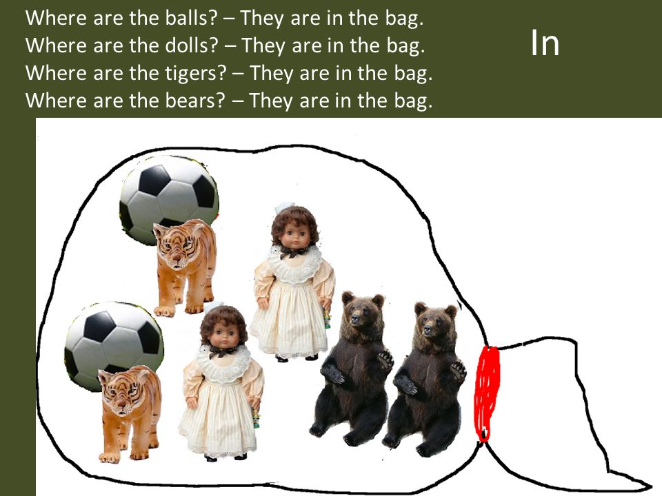 In Where are the balls – They are in the bag.