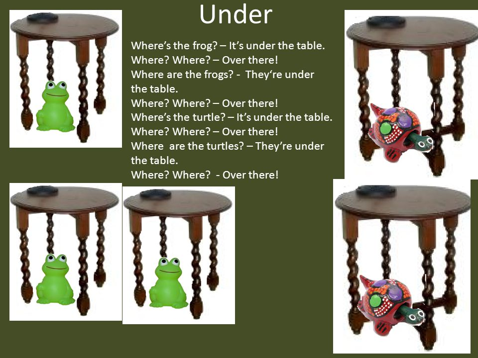 Under Where's the frog – It's under the table.