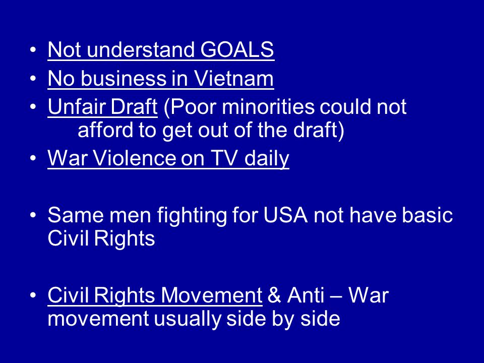 Not understand GOALS No business in Vietnam. Unfair Draft (Poor minorities could not afford to get out of the draft)