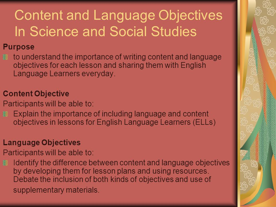 Content and Language Objectives In Science and Social Studies