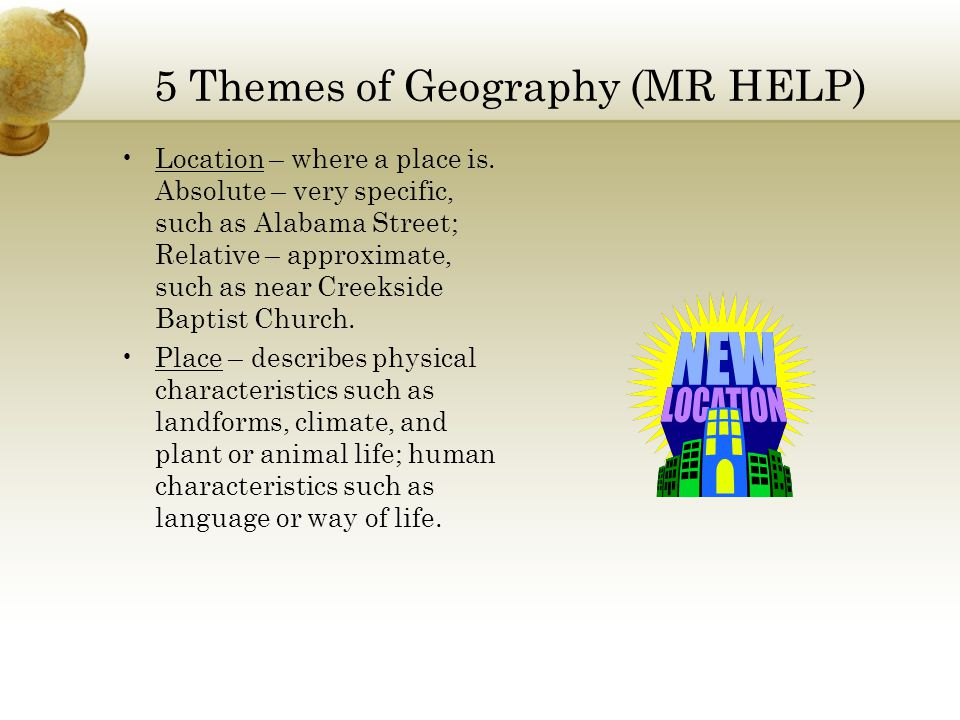 5 Themes of Geography (MR HELP)