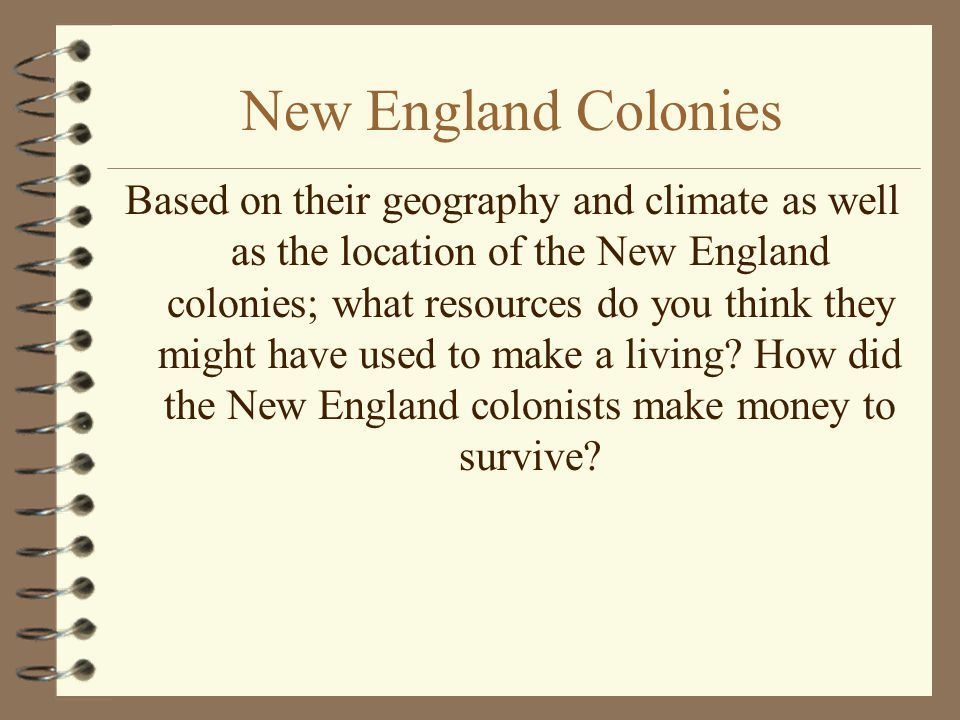 New England Colonies Food Source