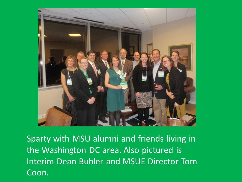 Sparty with MSU alumni and friends living in the Washington DC area