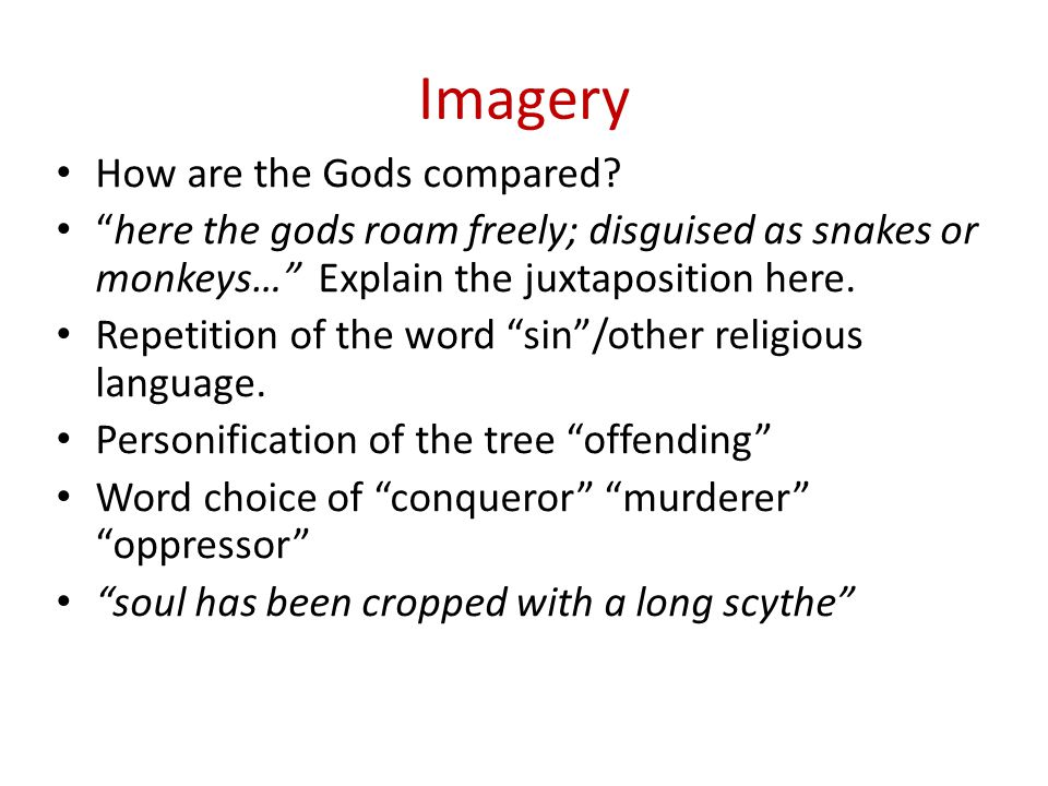 Imagery How are the Gods compared