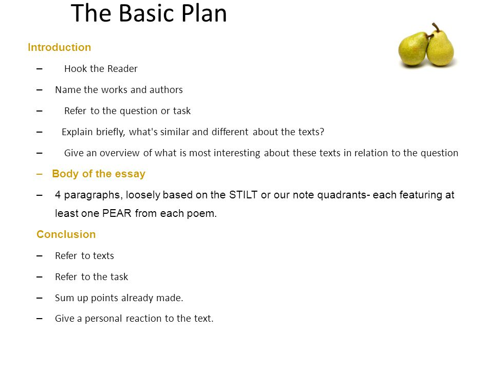 The Basic Plan Introduction Hook the Reader Name the works and authors