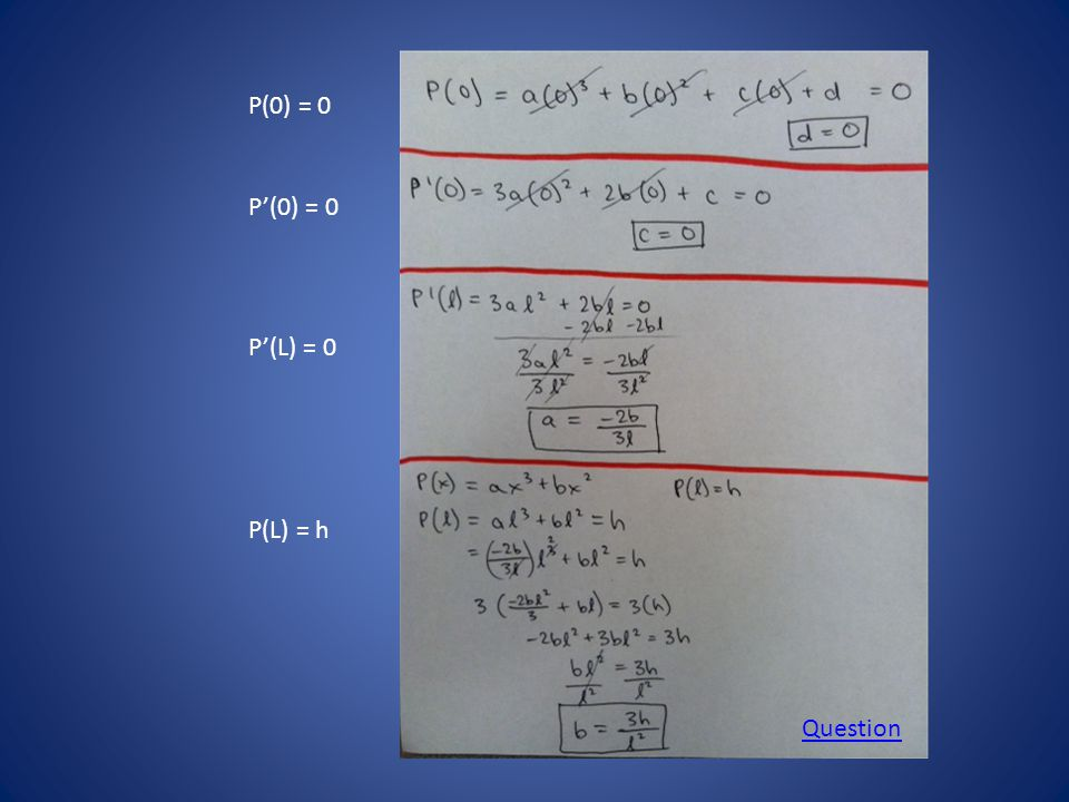 \ P(0) = 0 P'(0) = 0 P'(L) = 0 P(L) = h Question
