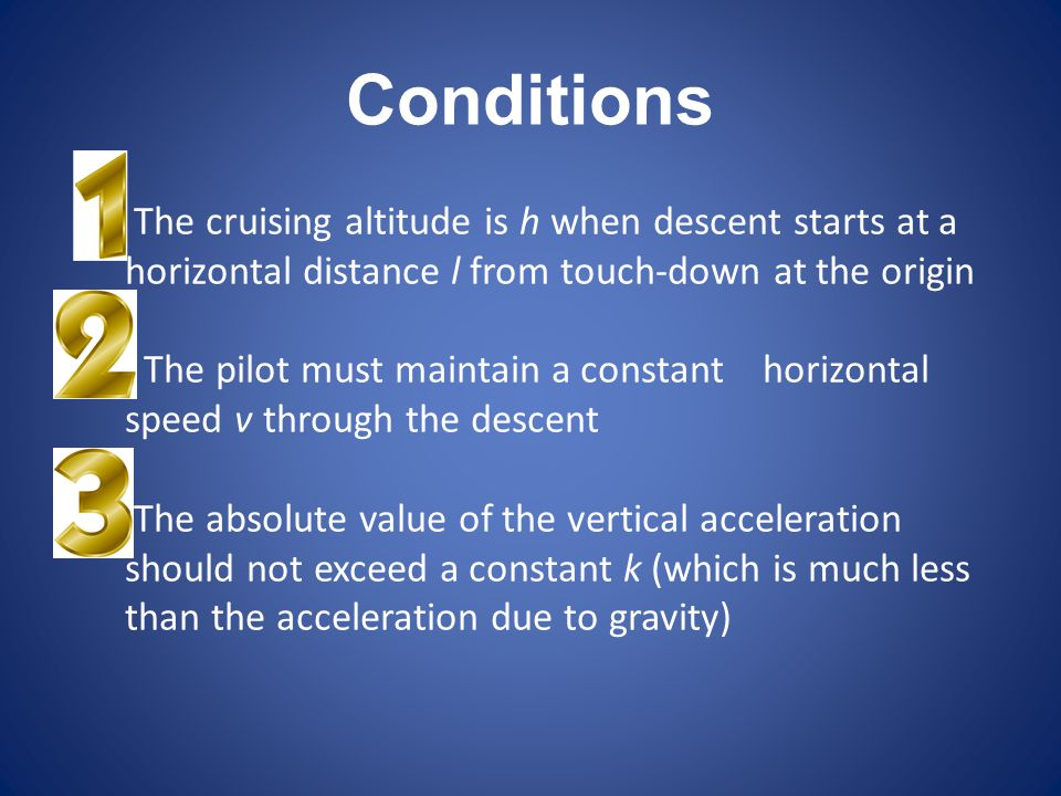 Conditions The cruising altitude is h when descent starts at a horizontal distance l from touch-down at the origin.