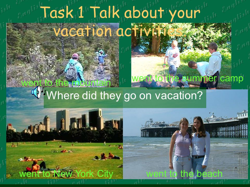 Task 1 Talk about your vacation activities.