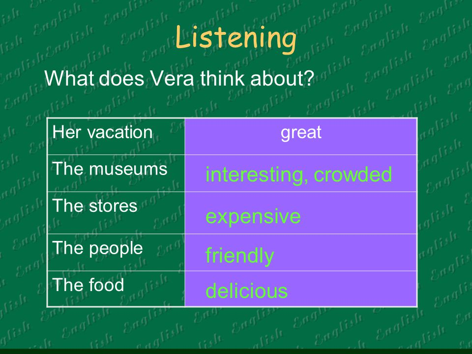 Listening What does Vera think about interesting, crowded expensive