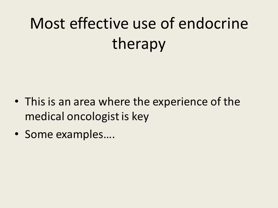 Most effective use of endocrine therapy
