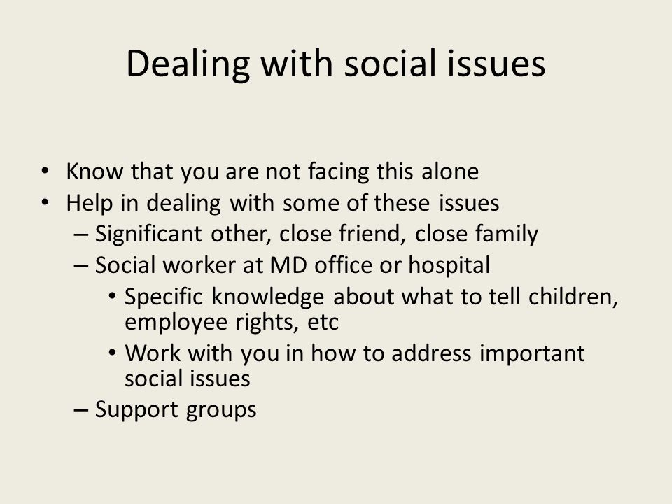 Dealing with social issues