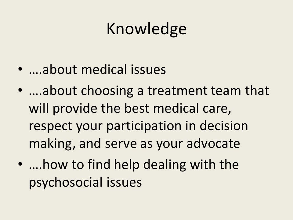 Knowledge ….about medical issues