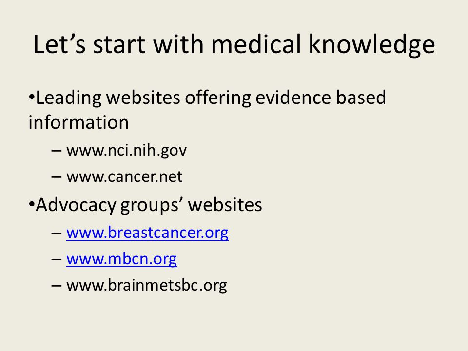 Let's start with medical knowledge