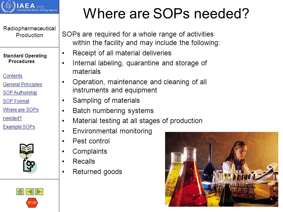 Where are SOPs needed SOPs are required for a whole range of activities within the facility and may include the following: