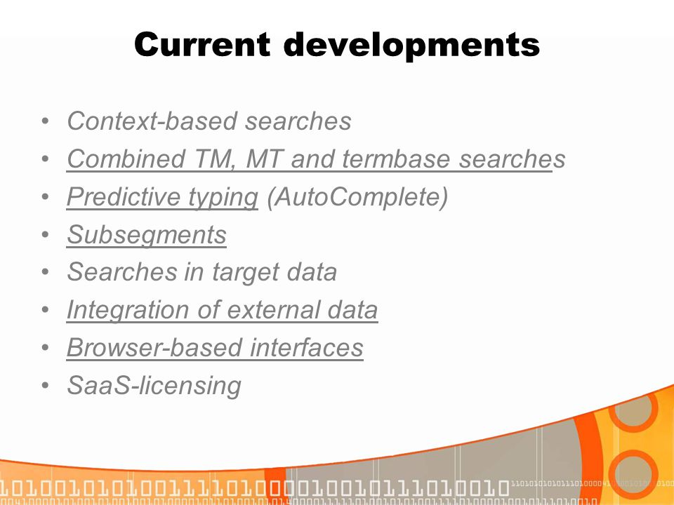 Current developments Context-based searches