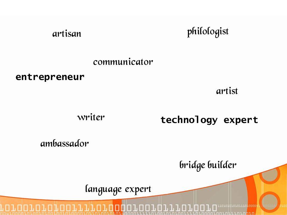 philologist artisan communicator artist writer ambassador