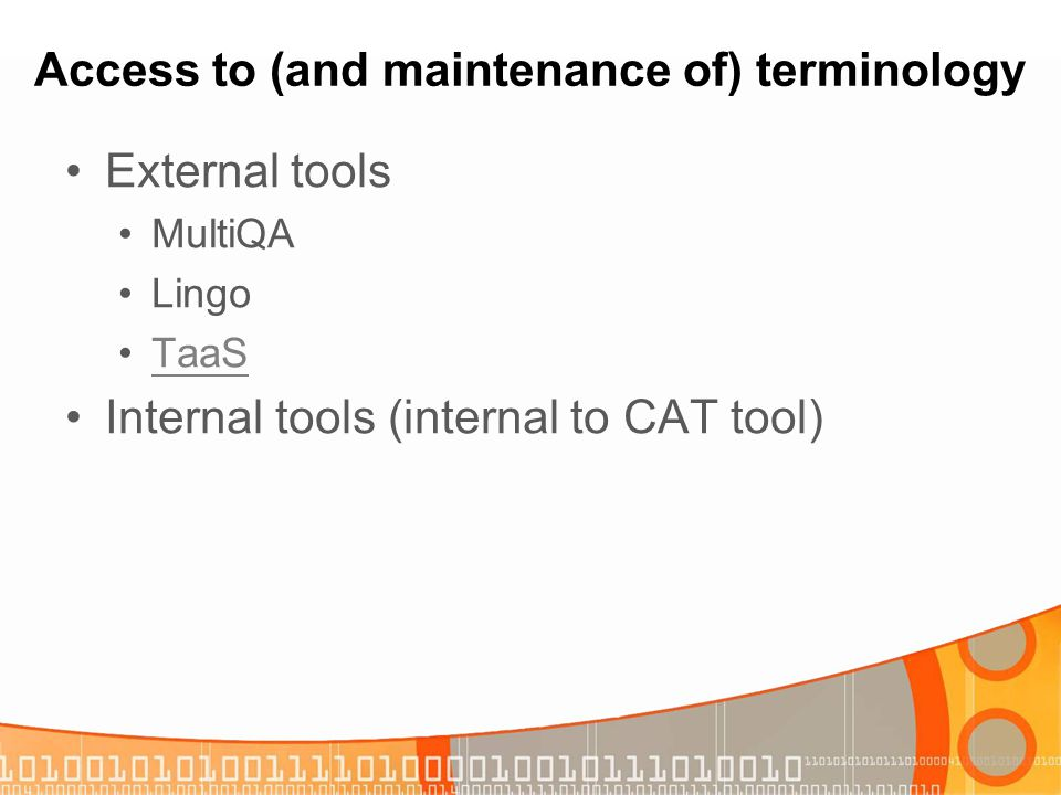 Access to (and maintenance of) terminology
