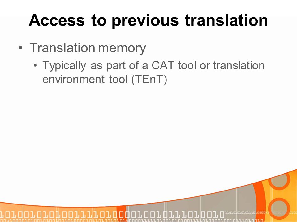 Access to previous translation