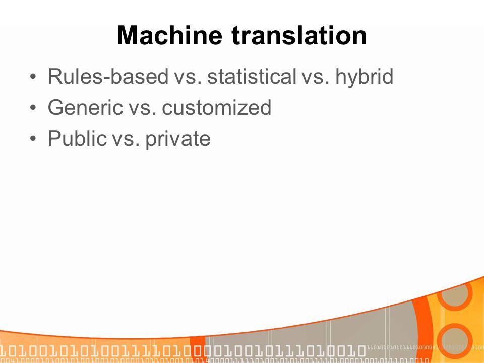 Machine translation Rules-based vs. statistical vs. hybrid