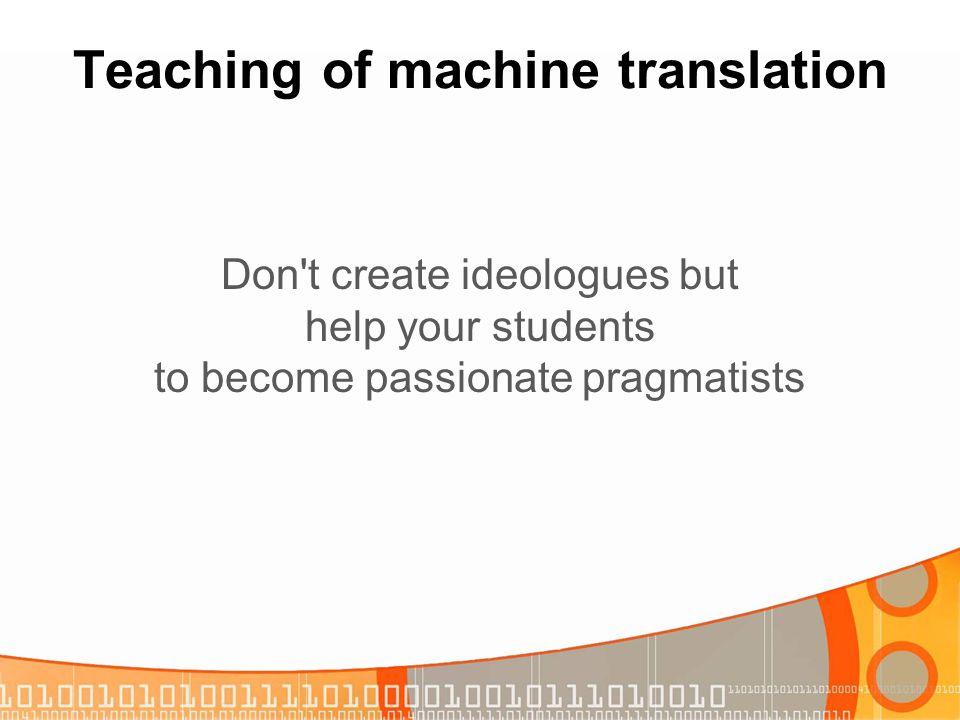 Teaching of machine translation