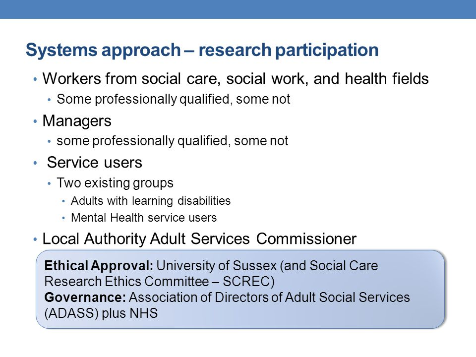 Systems approach – research participation