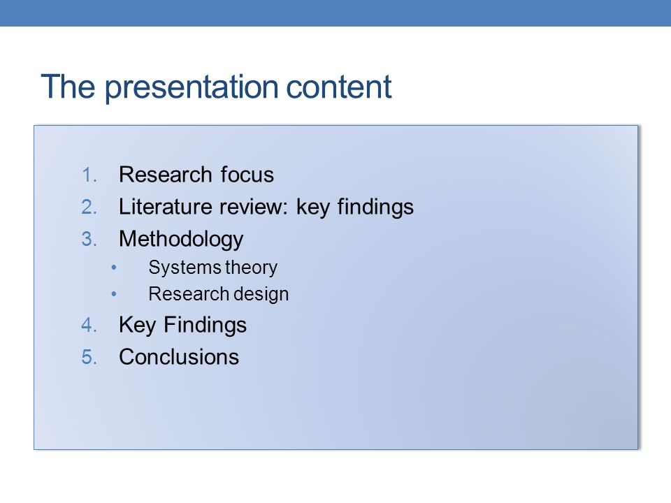 The presentation content