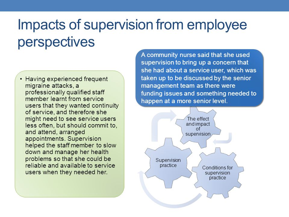 Impacts of supervision from employee perspectives