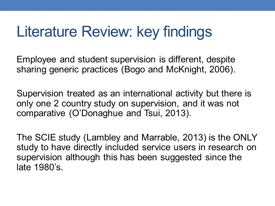 Literature Review: key findings
