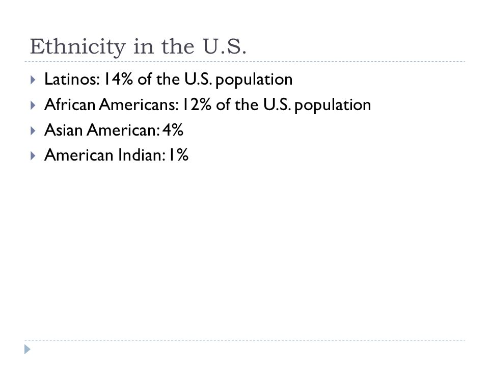 Ethnicity in the U.S. Latinos: 14% of the U.S. population