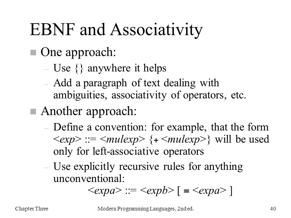 EBNF and Associativity