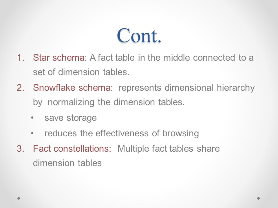 Cont. Star schema: A fact table in the middle connected to a set of dimension tables.