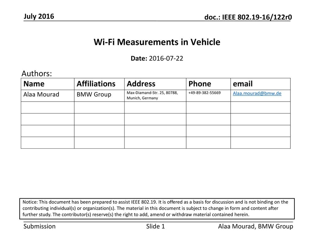 Wi-Fi Measurements in Vehicle