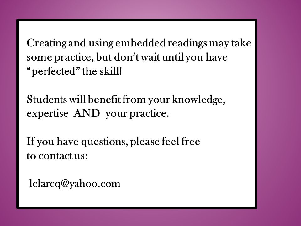 Creating and using embedded readings may take